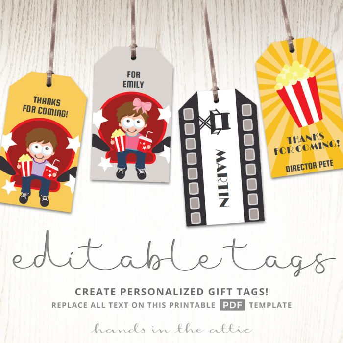 Movie Themed Birthday Party Gift Tags