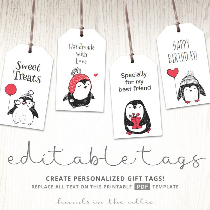 Party Tags for a Penguin Baby Shower