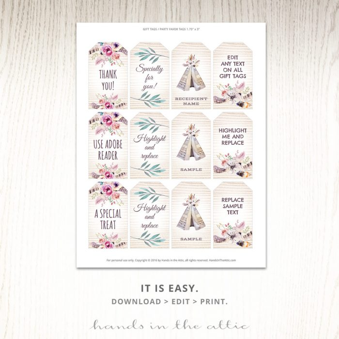 Personalize & Print | Bohemian Baby Shower Gift Tags