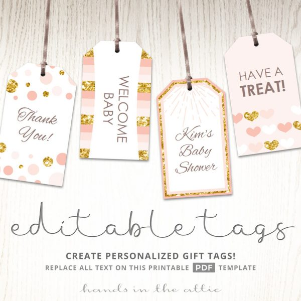 Pink and Gold Printable Tags