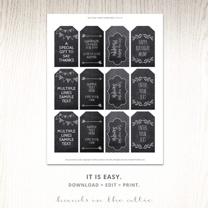 Printable Editable Labels | Chalkboard Gift Tags