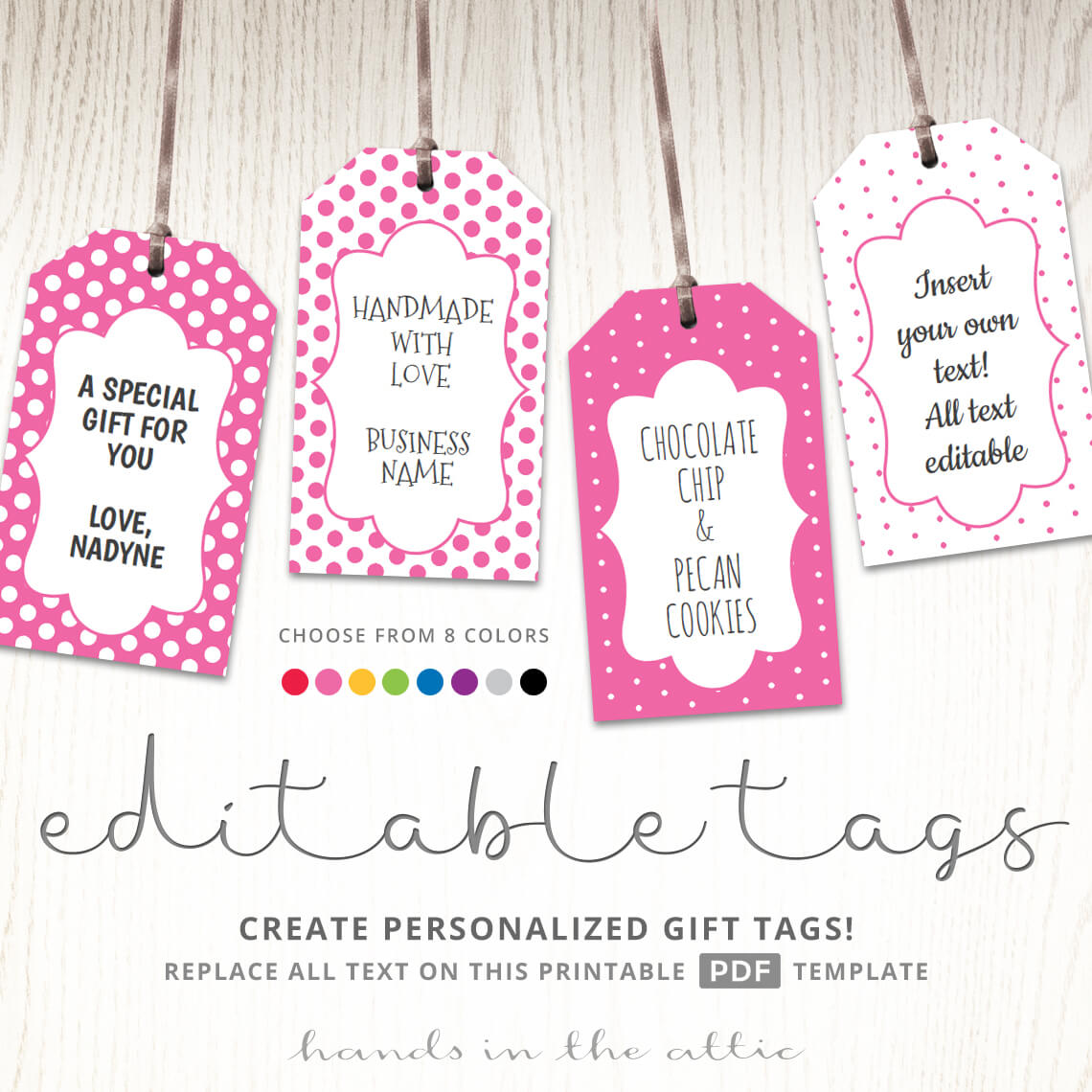 Printable Favor Tags | Polka Dot Labels | Editable Template | Hands ...
