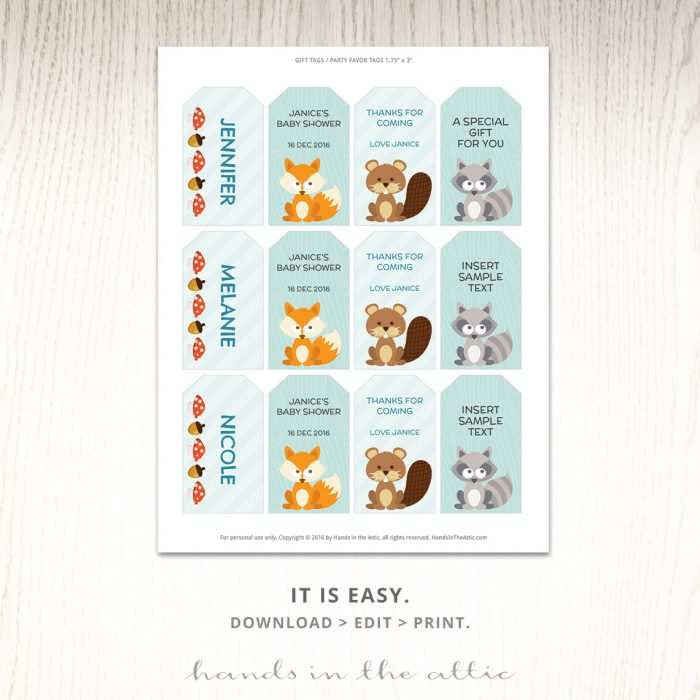 Printable Gift Tag Template | Woodland Baby Shower