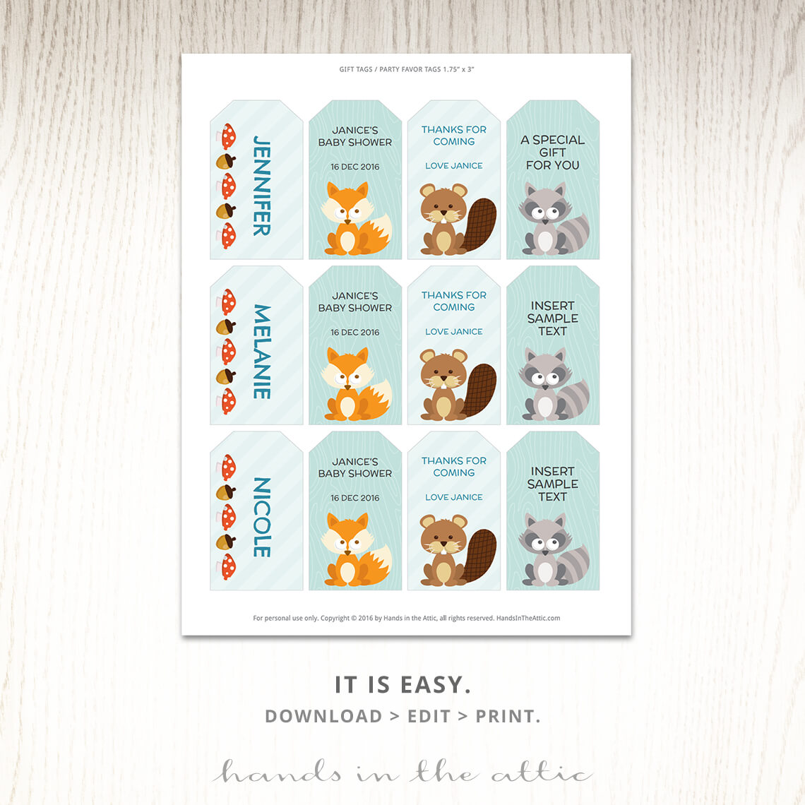 Woodland Baby Shower Labels Printable Gift Tag Template Hands In