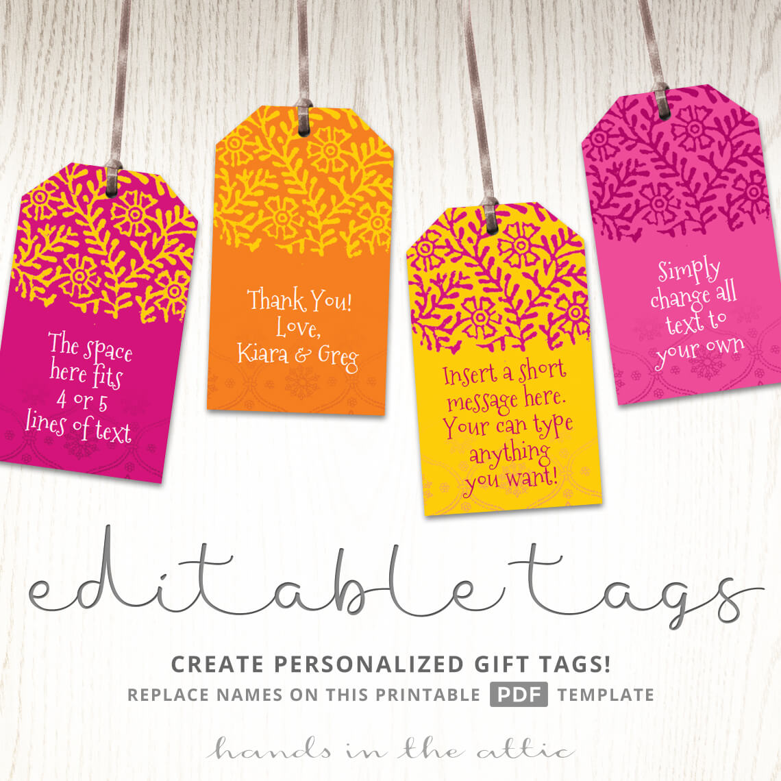 Printable indian wedding gift tags bright pink orange yellow printable indian wedding gift tags negle Gallery