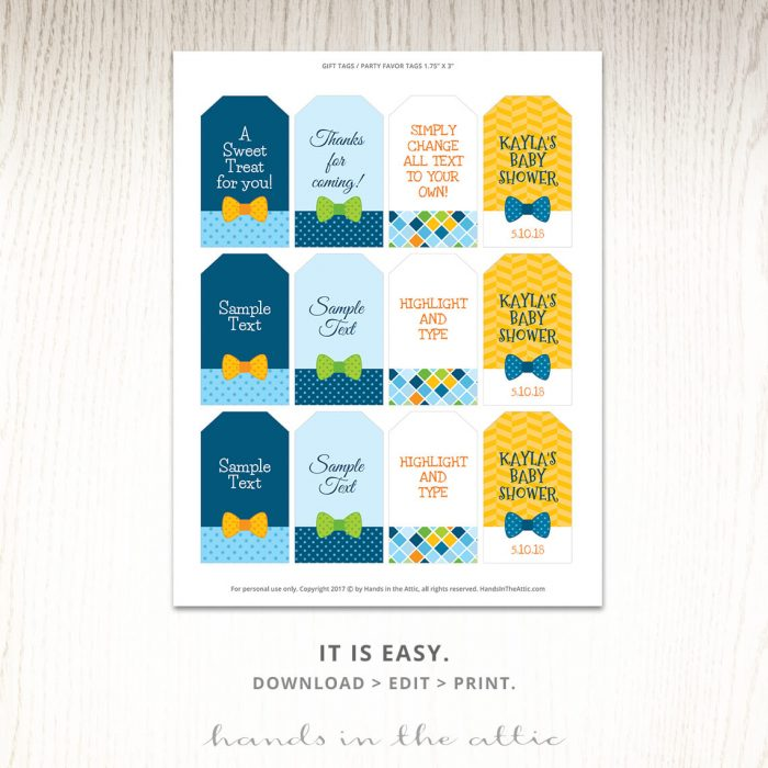 Printable Tags | Bow Tie Baby Shower Theme