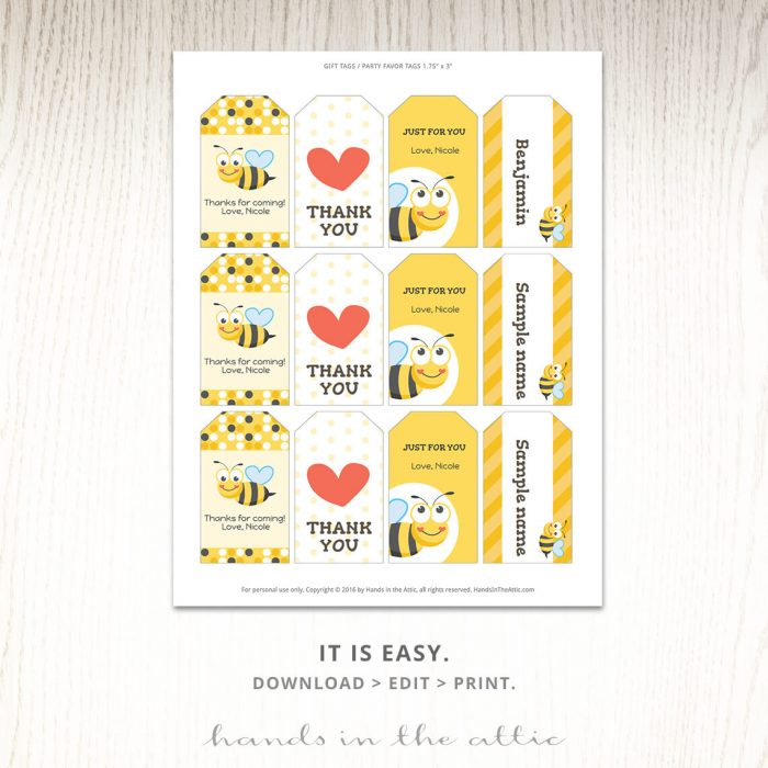 Printable Templates | Tags for bumble bee party favors