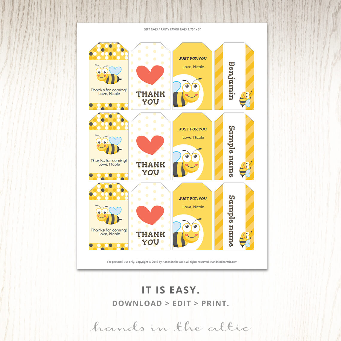 Printable Templates Tags For Ble Bee Party Favors