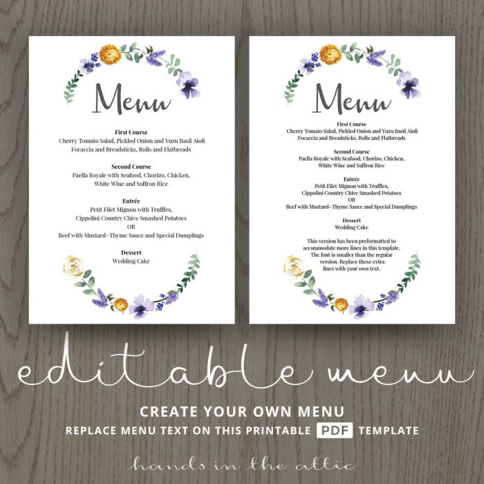 Purple Floral Wedding Buffet Menu Template