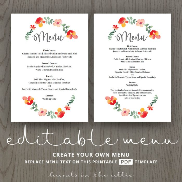 Red Floral Wedding Dinner Menu Template