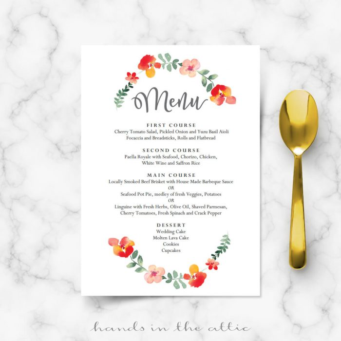 Red Flowers Wedding Menu Cards