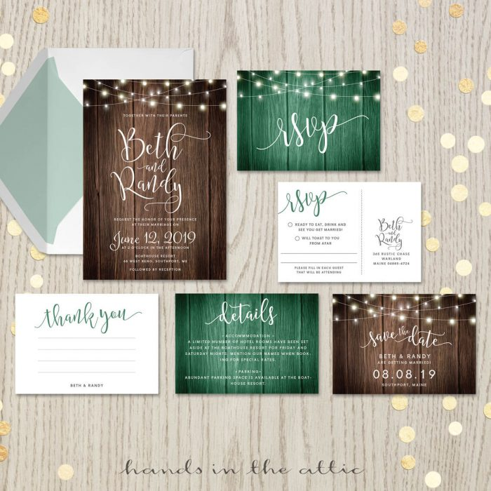 Rustic Themed Wedding Invitation