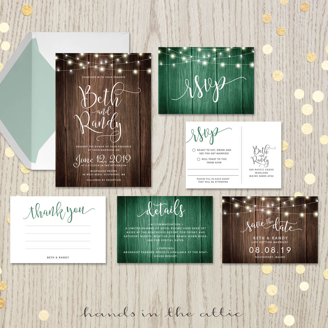 rustic themed wedding invitation set