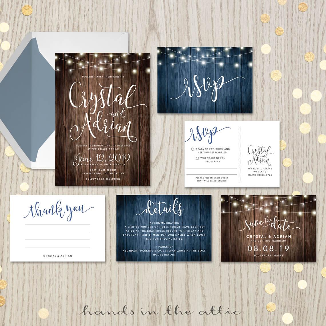 Printable Wedding Invitation Sets: Rustic Wedding Invitation Set
