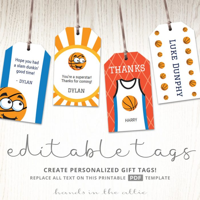 Sports Themed Birthday Party Tags