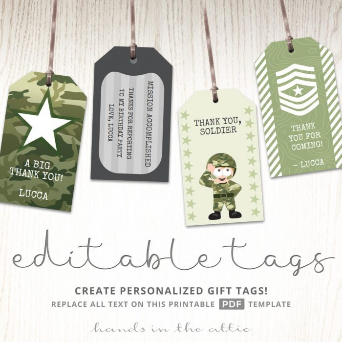 Tags for Army Party Favors