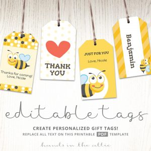 Tags for bumble bee party favors
