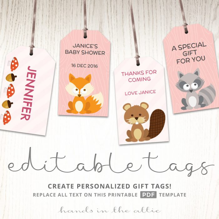 Woodland Animals Baby Shower Gift Tags