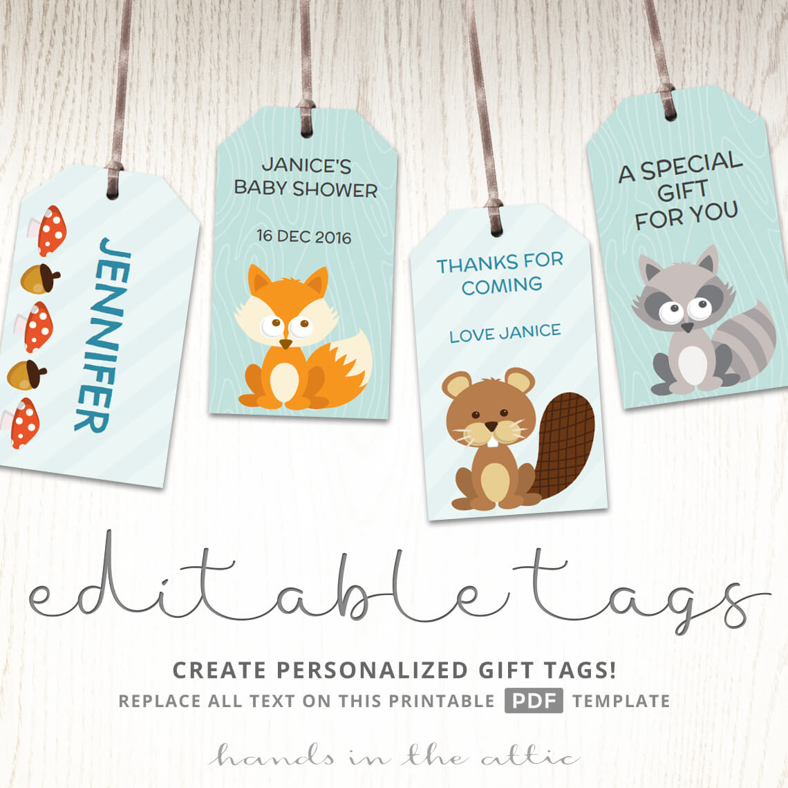 Woodland Baby Shower Labels Printable Gift Tag Template Hands In The Attic