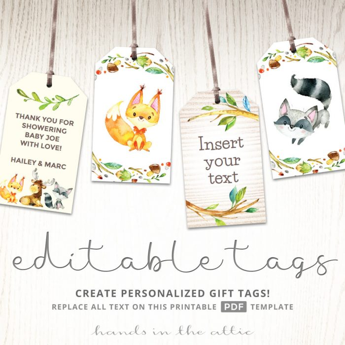 Woodland Creatures Baby Shower Tags