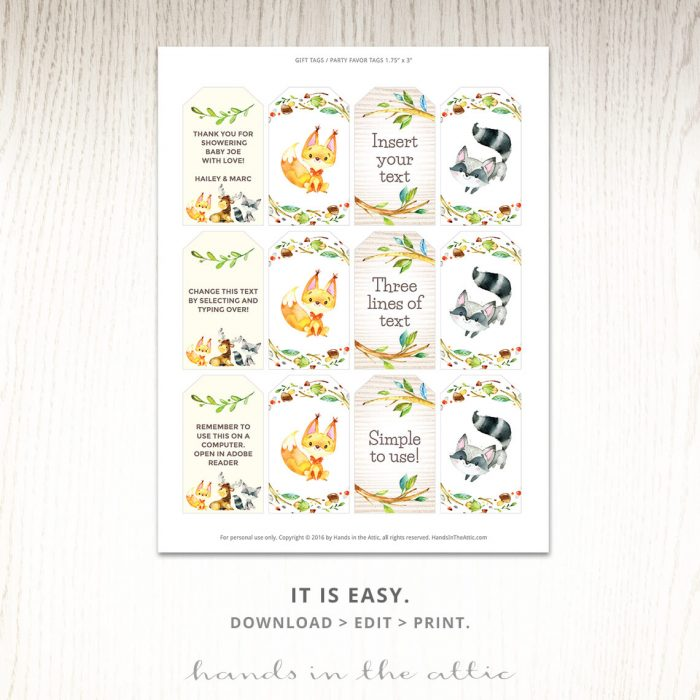 Woodland Creatures Editable Templates