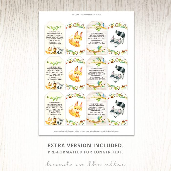 Woodland Creatures Labels
