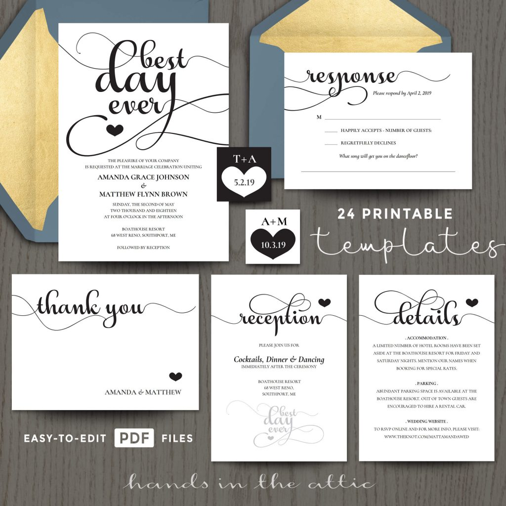 Places To Print Wedding Invitations: Best Day Ever Wedding Invitation Templates