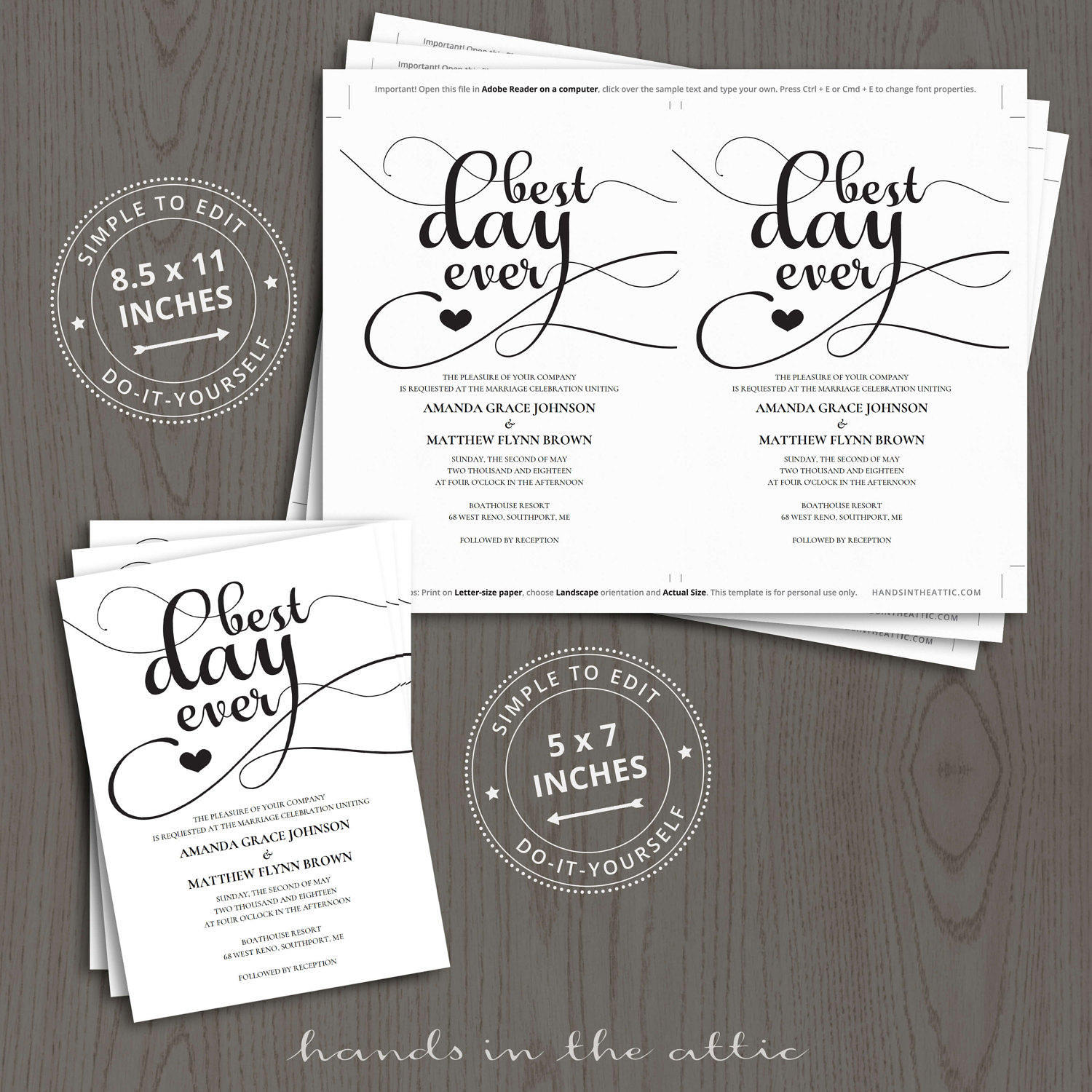 Best day ever wedding invitation templates printable for Best day for a wedding