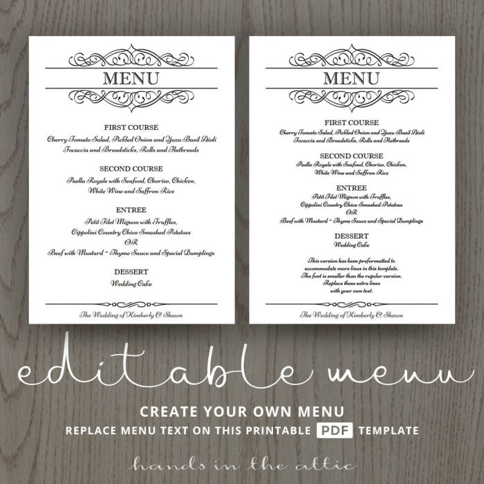 Calligraphic Wedding Brunch Menu Template