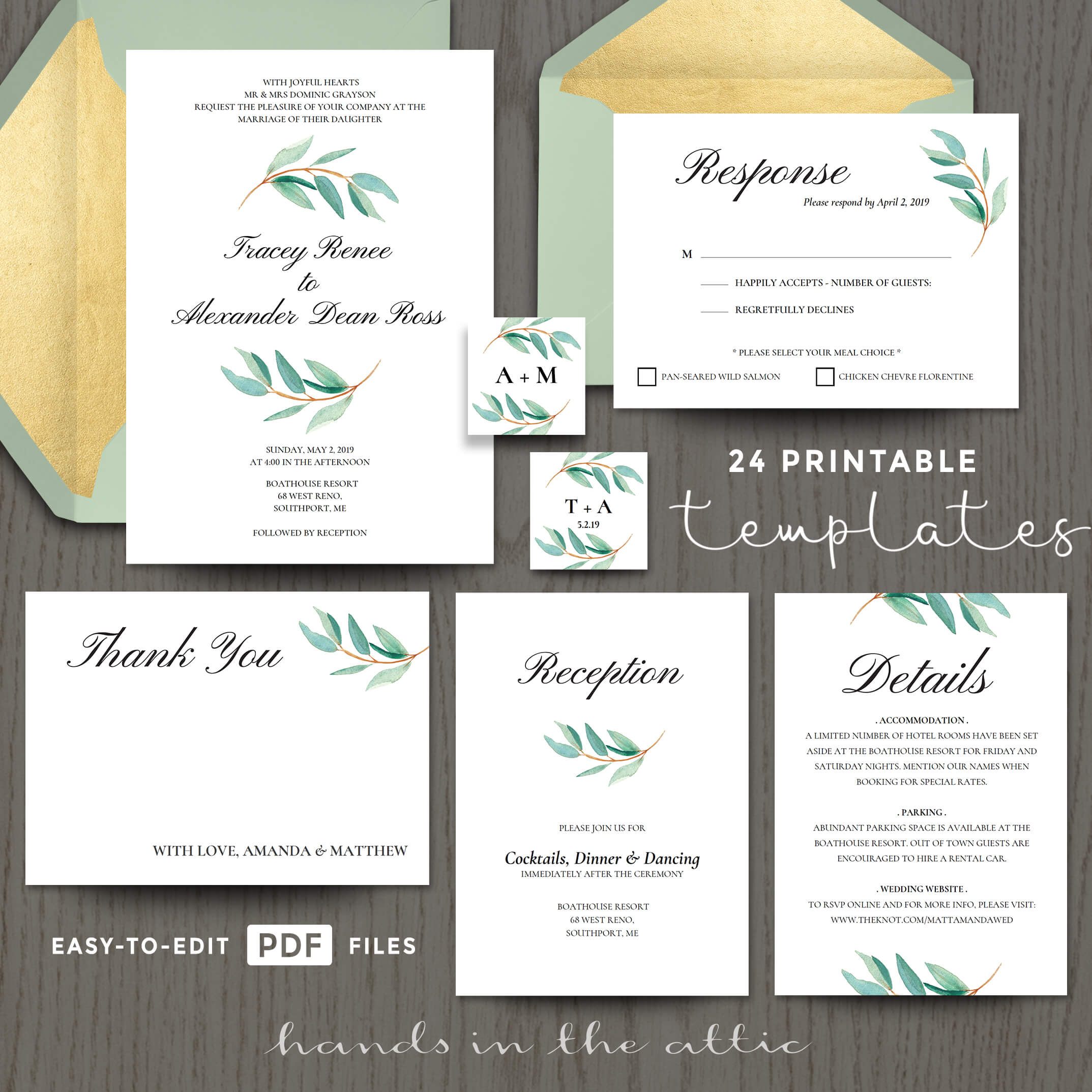 Eucalyptus Wedding Invitation Templates Printable Stationery