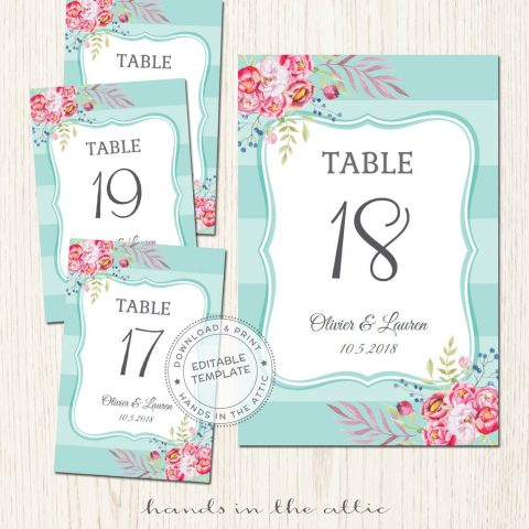 Free Wedding Table Numbers