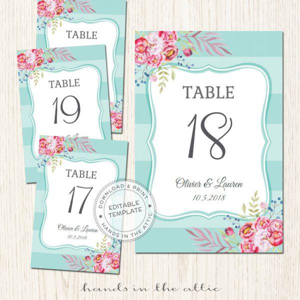Free Wedding Table Numbers