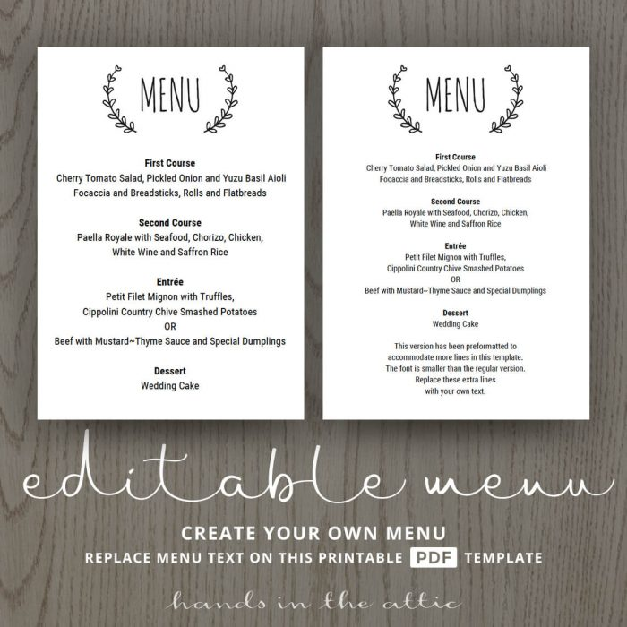 Laurel Wreath Wedding Brunch Menu Template