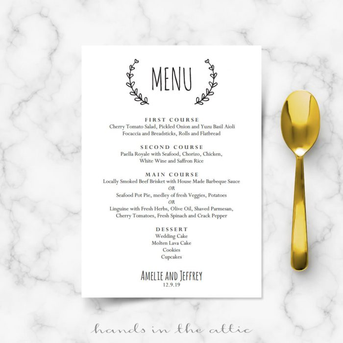 Laurel Wreath Wedding Menu Template