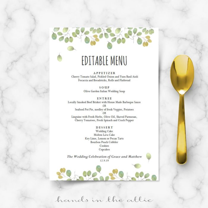 Wedding Menu Cards | Printable Templates | Hands In The Attic
