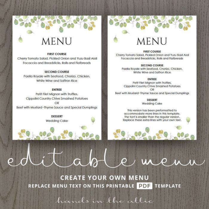 Leaves Wedding Reception Menu Template