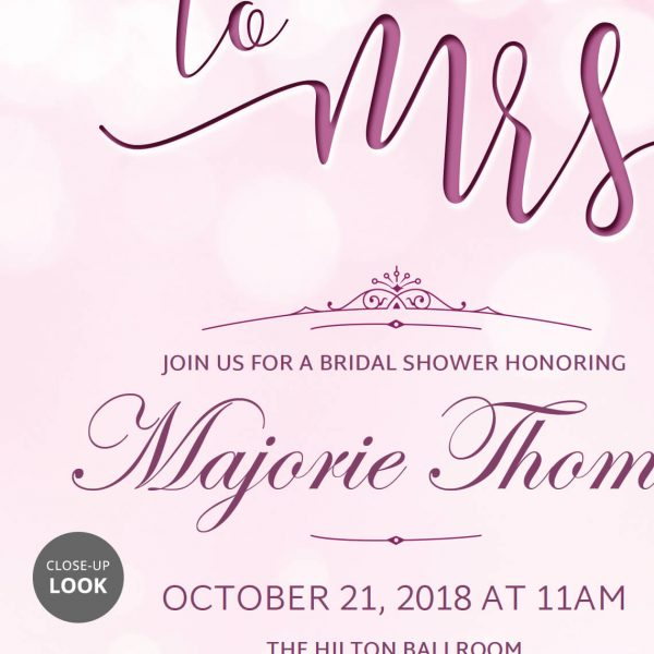 Miss to Mrs Invitation Template Close-up