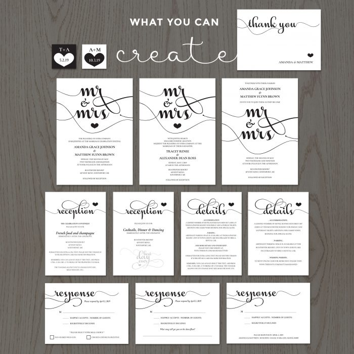 Mr & Mrs Wedding Invitation Templates DIY
