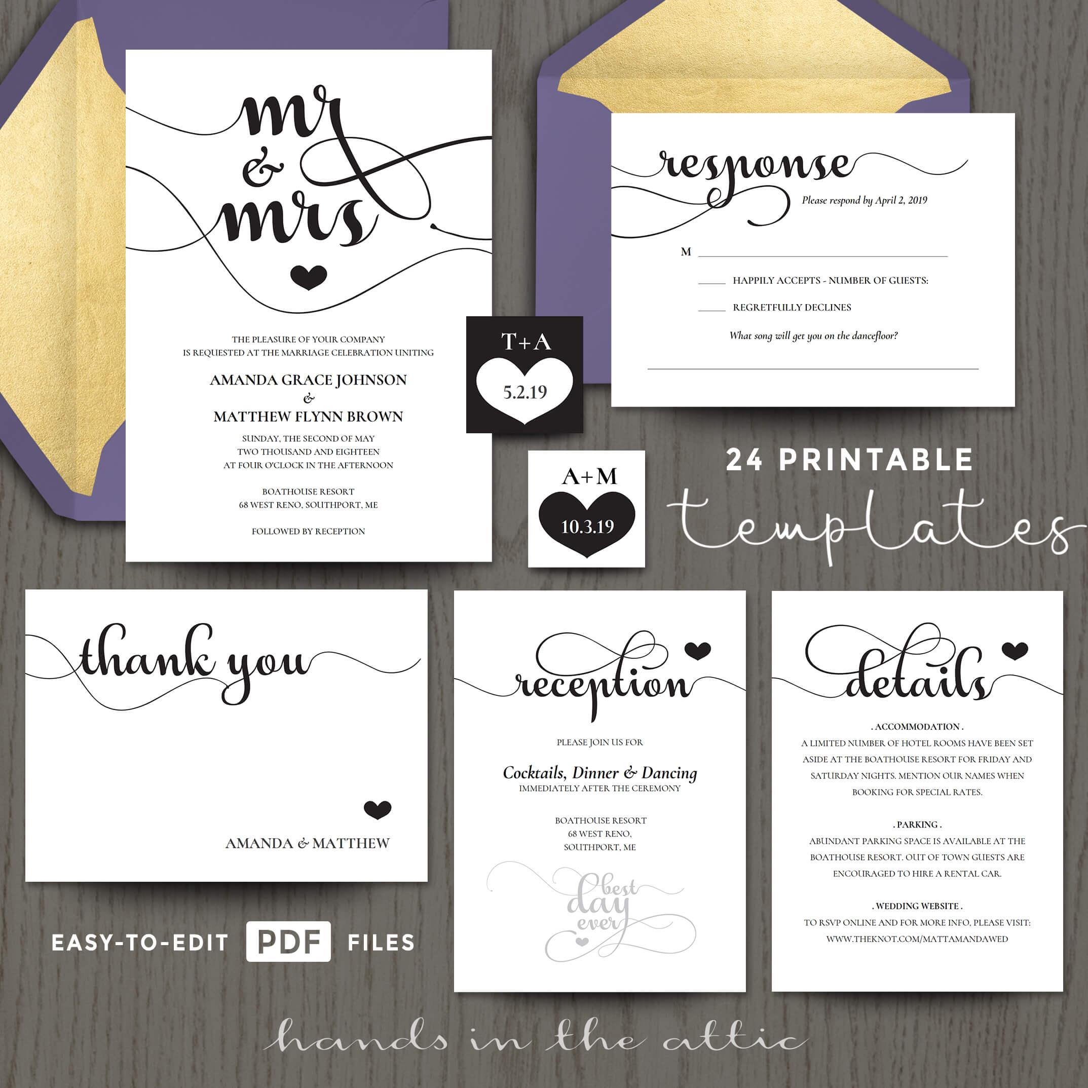 Mr Mrs Wedding Invitation Templates Printable Stationery - Wedding invitation templates: hotel accommodations template for wedding invitations