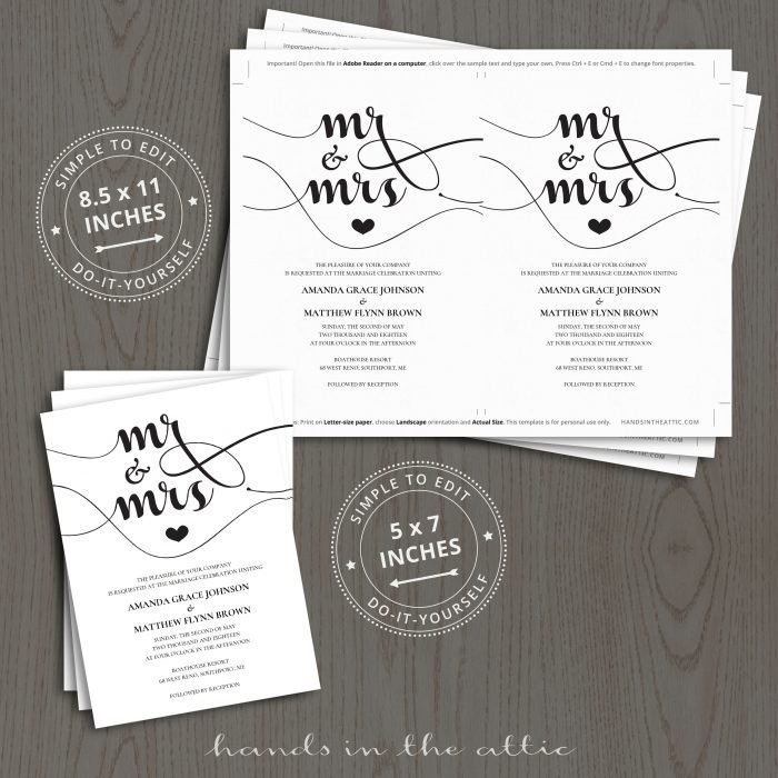 Mr & Mrs Wedding Invitations