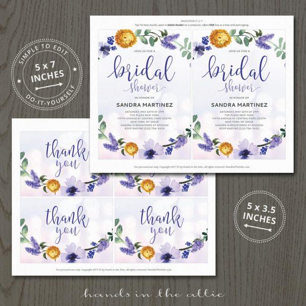 Purple Bridal Shower Invitation Printable