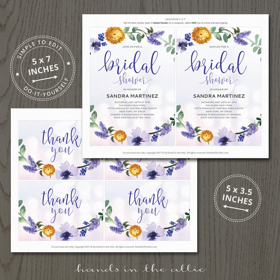 Purple Bridal Shower Invitation Printable