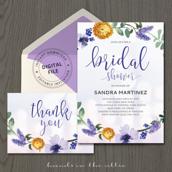 Purple Bridal Shower Invitation Template