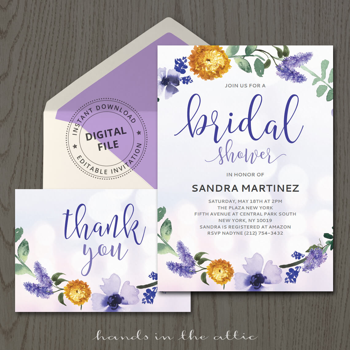 purple bridal shower invitation template hands in the attic