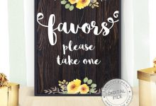 Printable Wedding Favors Sign