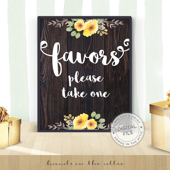 Printable Wedding Favors Sign Hands In The Attic