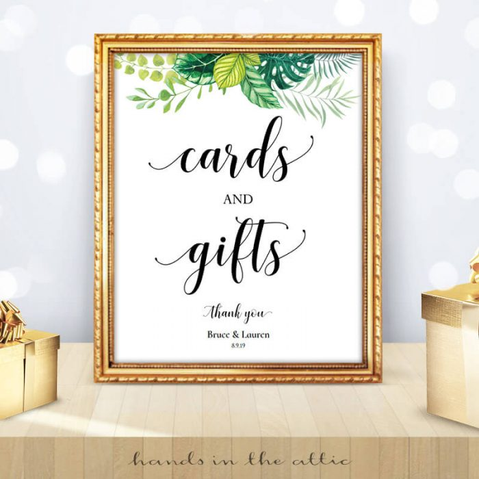 Greenery Wedding - Tropical Leaves - Cards and Gifts Sign
