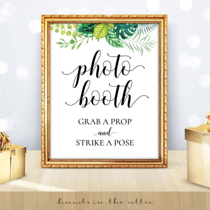 Greenery Wedding - Tropical Leaves - Photo Booth Sign