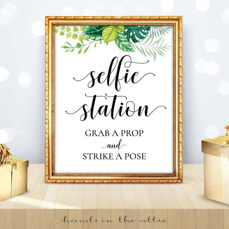 Greenery Wedding Tropical Leaves Selfie Station Sign