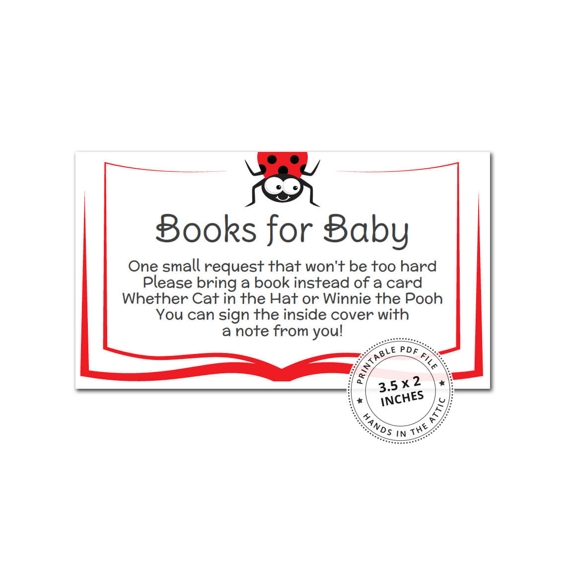 Baby Shower Book Insert Cards - Ladybug | Printable Baby ...